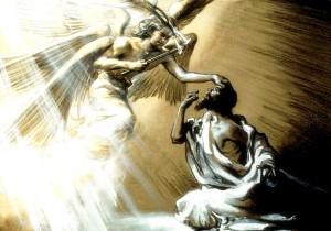 Thiên sứ gắp than lửa đỏ từ bàn thờ làm tẩy thanh môi miệng Ê-sai